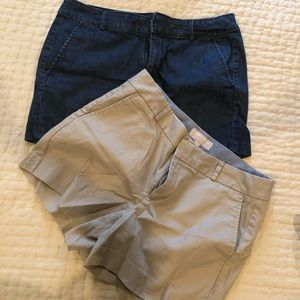 Khaki and denim colored shorts - banana republic